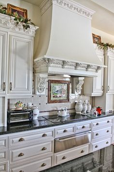 french country kitchen design ideas to inspire you 41 Country Kitchen Designs, French Country Kitchens, Farmhouse Style Kitchen, Home Decor Kitchen, Decorating Kitchen, Kitchen Nook, Hallway Decorating, Modern Farmhouse, Kitchen Ideas
