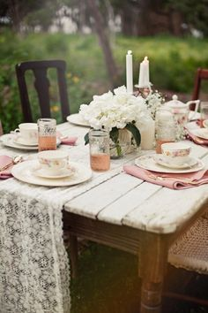inspiration | lace table runners for wedding reception tables | via: rustic wedding chic