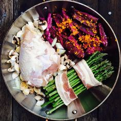 """Got this in oven in 10 min! Perfect One Dish Wonder!! 1 purple sweet potato with orange zest, chicken breast coated with bacon fat, 1 1/2 cups each…"""