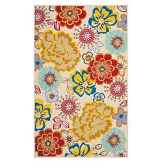 Stylishly anchor your patio or porch ensemble with this lovely indoor/outdoor rug, showcasing a whimsical floral motif on an ivory background.