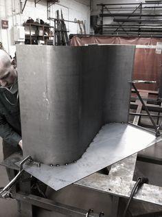 Fabrication of a custom range hood in blackened steel by Face Design + Fabrication