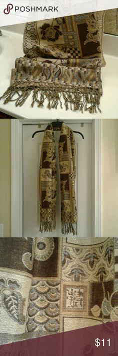 """PASHMINA SCARF This beautiful deep brown pashmina with an elaborate golden tan-cream border with metallic thread will make you feel as though you are enveloped in luxury.   72"""" L x 27"""" W 55% Pashmina 45% Silk PASHMINA Accessories Scarves & Wraps"""