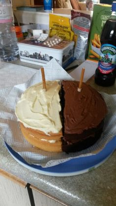 Mum's 70th birthday cake. Half and half! Victoria sponge and chocolate sponge. Pleases everyone!