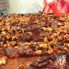 That's the sound of sizzling bacon on top of our bacon bourbon brownie bombs as they're glazed with bourbon maple syrup.. Doesn't it just make your mouth water?!   #bacon #brownies #bourbon #pecans #maplesyrup #glaze #dessert #breakfast #yum #drooling #mouthwatering #boulder #colorado #bouldercolorado #baking #video #bakery