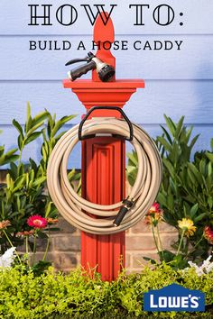 Wrangle your water hose with an easy customizable DIY hose caddy. Wrangle your water hose with an easy customizable DIY hose caddy.