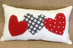 Valentine Burlap Pillow on Ivory Burlap with Fabric Hearts in Reds and Greys - 2016 Valentine Line by sherisewsweet on Etsy www.sherisewsweet.etsy.com