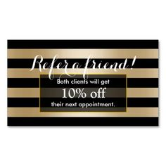 Referral Card | Modern Black & Gold Stripes Double-Sided Standard Business Cards (Pack Of 100)