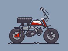 Honda Mini Bike designed by Scott Tusk. Connect with them on Dribbble; Car Illustration, Simple Illustration, Mini Bike, Bike Icon, Gs500, Bike Drawing, Cubs Shirts, Cargo Bike, Ex Machina