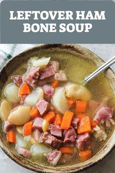 Delicious homemade ham bone soup from leftover ham cooked on the stove. Made with beans, potatoes, carrots and slow cooked in a rich broth. I always have a leftover ham bone when i cook my Ham Bone Recipes, Best Soup Recipes, Healthy Soup Recipes, Pork Recipes, Dinner Recipes, Yummy Recipes, Dinner Ideas, Favorite Recipes, Ham Bone Potato Soup
