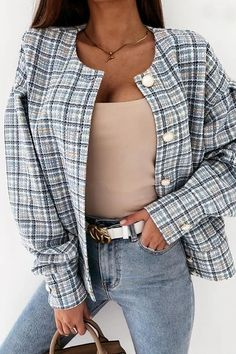 Coats For Women, Jackets For Women, Clothes For Women, Chic Type, Ripped Shorts, Denim Romper, Plaid Jacket, Jacket Buttons, Types Of Sleeves