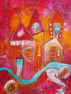 The Good Life  18 x 24  Funky House Scene  by Jodi Ohl