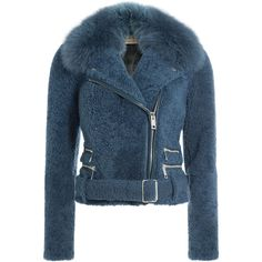 Burberry London Shearling Biker Jacket ($2,249) ❤ liked on Polyvore featuring outerwear, jackets, blue, shearling moto jacket, fuzzy jacket, shearling lined jacket, rider jacket and burberry jacket