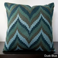 Decorative Keon Chevron Print Down Filled or Poly Filled Decorative Pillow (Poly Dusk Blue-(22 x 22)), Blue (Cotton, Stripe)