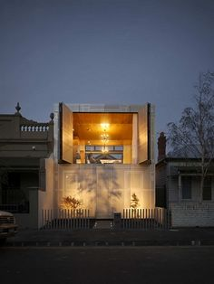 The Perforated House is an unusual modern house with its own agenda. Designed by Australian architecture firm Kavellaris Urban Design in an infill Melbourne Architecture, Architecture Résidentielle, Australian Architecture, Minimalist Architecture, Beautiful Architecture, Contemporary Architecture, Contemporary Houses, Urban Design Concept, Edwardian House