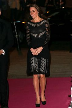 Pregnant Kate Middleton is glowing in daring black Temperley flare dress - 3am & Mirror Online