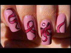 Tuto nail art - octobre rose, noeuds et rubans (HD)  Photo credit to @cherrynailpolish (IG)