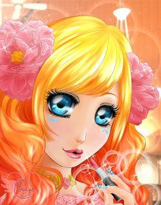 """""""Makeup"""" - Illustration from #rosalys at www.rosalys.net - work licensed under Creative Commons Attribution-Noncommercial - #illustration #originalart #digitalart #digitalpainting #digitaldrawing #CG"""