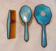 antique vanity brush mirror set - Google Search