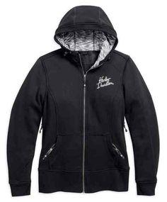 Harley-Davidson Womens Washed Blue Long Sleeve Full Zip Burnout Hoodie Jacket