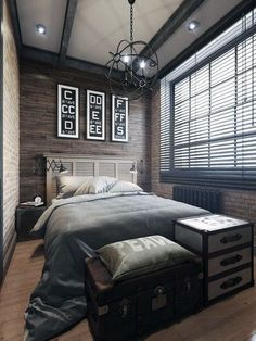 60 Men's Bedroom Ideas - Masculine Interior Design Inspiration Modern Bedroom Ideas For Men. Are you looking for unique and beautiful art photo prints to create your gallery wall. Bachelor Bedroom, Bachelor Pads, Bachelor Pad Decor, Masculine Interior, Masculine Apartment, Masculine Bedrooms, Masculine Room, Small Bedroom Designs, Bedroom Small