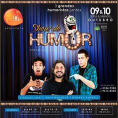 Vamos dar risada?  Em outubro tem show de humor aqui no Buriti.  Vem pra cá!