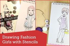 How to draw fashion girls using stencils - Here's a great tool to help you learn fashion illustration. I'm an adult teaching myself to draw and I don't mind using tools designed for children.  #art #croquis #design #drawing #fashion #girls #illustration #learning #model - Find more design, photography and craft at Red Instead. www.redinstead.com.au