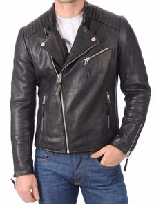 Lambskin Leather Jacket Genuine Mens Stylish Motorcycle Biker Black slim fit X55 #WesternOutfit #Motorcycle