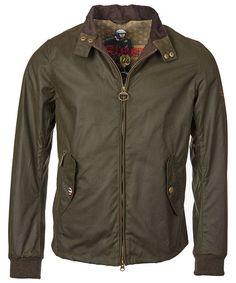 Men's Barbour Steve McQueen Wax Windcheater Jacket - Olive
