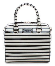 Another great find on #zulily! Black & Cream Wellesley Stripe Alessa Patent Leather Satchel by Kate Spade #zulilyfinds