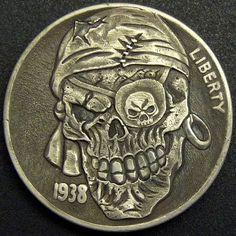 TIM WOLF HOBO NICKEL - BUFFALO PIRATE - 1938 BUFFALO NICKEL Pirate Art, Pirate Life, Memento Mori, Crane, Pirate Coins, Post Mortem, Hobo Nickel, Coin Art, Bullion Coins
