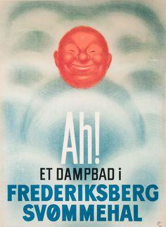 Arne Ungermann (1902-1981): 'Ah! Et dampbad i Frederiksberg Svømmehal', lithography, 85 x 62 cm.