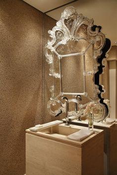 Powder Room by Guilherme Torres. Stunning Venetian Mirror.