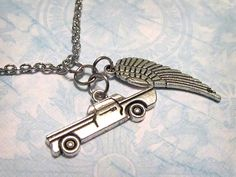 """SUPERNATURAL Dean & Castiel (Destiel) Necklace with TWO Charms (18"""" Chain) - Custom Orders Welcome"""