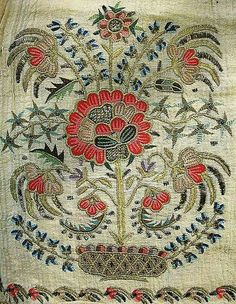 Details of a large embroidered headscarf, Crimean Tatar, from Turkey, Called 'marama'. Embroidered in multi-coloured cotton and metallic (silver) thr Hand Work Embroidery, Silk Ribbon Embroidery, Embroidery Needles, Vintage Embroidery, Beaded Embroidery, Cross Stitch Embroidery, Embroidery Designs, Textile Patterns, Knitting Patterns