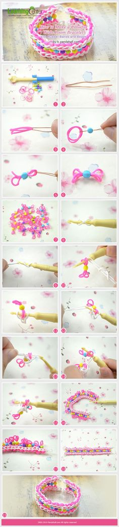 Look for making bracelet with rubber bands? In today's tutorial, I will share you how to make a wide loom bracelet with rubber bands and beads. Rainbow Loom Tutorials, Rainbow Loom Patterns, Rainbow Loom Creations, Rainbow Loom Bands, Rainbow Loom Charms, Rainbow Loom Bracelets, Loom Band Bracelets, Rubber Band Bracelet, Bracelet Crafts