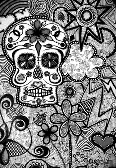 black and white candy skull wallpaper ©KC :)