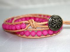Double wrapped pink jade beaded bracelet chan luu by mvtreasures, $40.00
