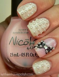 wedding nails with pearl