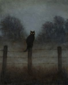 Black Cat Sentry, an art print by Dillon Samuelson Black Cat Sentry, an art print by Dillon Samuelson Black Cat Sentry, an art print by Dillon Samuelson - INPRNT<br> Black Cat Aesthetic, Witch Aesthetic, Aesthetic Art, Arte Obscura, Creepy Art, Creepy Paintings, Cat Paintings, Foto Art, Psychedelic Art