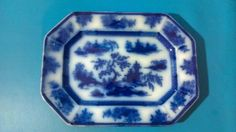 Flow Blue Platter CHAPOO by Wedgwood Ca 1840-1850 #CHAPOO