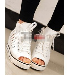 Casual-lace-up-caged-sneakers-shoes-womens-canvas-open-toe-shoes-wedges-HOT-sale