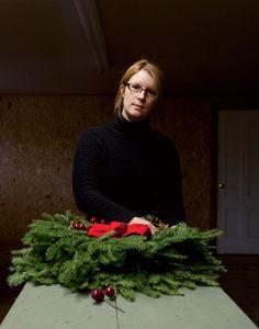 Amanda Hanscom finishes a wreath in Washington, County, Maine Christmas In America, Washington County, Amanda, Maine, Seasons, Cold, Holiday Decor, Seasons Of The Year