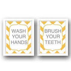 Bathroom Manners Set of 2 Prints- Gray Yellow Bathroom Decor- Kids Bathroom Prints- Wash Your Hands Brush Your Teeth. $29.00, via Etsy.