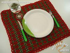 Jogo Americano de Crochê Natal - Tapetes e Toalhas - Aprendendo Croche