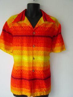 Vintage Mens Barkcloth Hawaiian Aloha  #barkcloth #hawaiianShirt