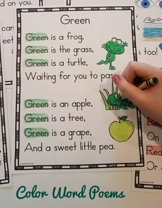 Color Word Poems for Shared Reading Shape Poems For Kids, Poetry For Kids, Kids Poems, Color Worksheets For Preschool, English Worksheets For Kids, Preschool Learning, Preschool Activities, Teaching, Kindergarten Poems