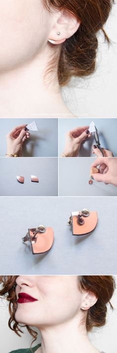 DIY Minimal copper earrings · DIY Pendientes minimalistas cobres · Fábrica de Imaginación · Tutorial with steps in Spanish