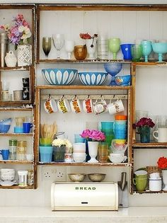 eclectic open shelving and colorful delights #bohemian #spaces