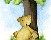 Children's decor, Teddy Bears, handmade watercolor painting. $20.00, via Etsy.