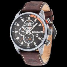 a22561d6fecf Timberland henniker ii gunmetal black dial brown leather watch